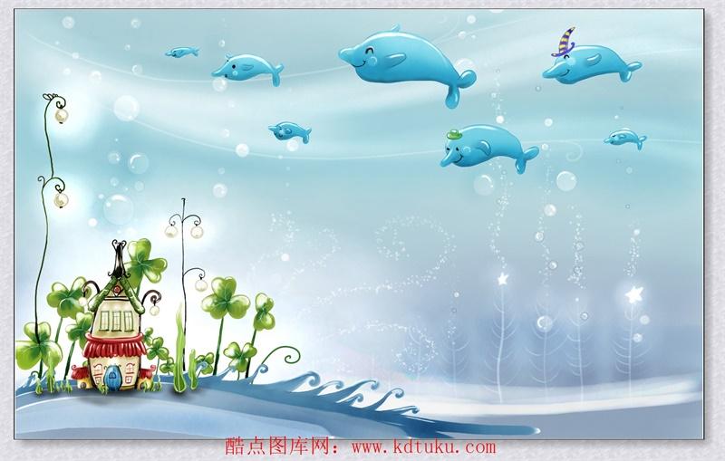 m1688-3d卡通儿童房海底世界小海豚背景墙壁画