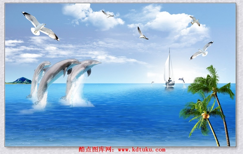 m1975-3d风景海景大海豚海鸥帆船椰树蓝天白云背景墙壁画