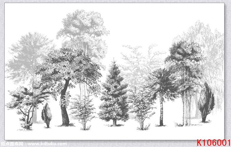 k106001-北欧欧式美式热带雨林树林背景墙壁画图片