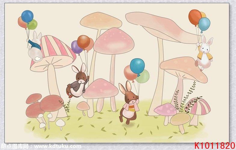k1011820-手绘卡通儿童房小兔子蘑菇气球背景墙壁画